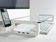 UBOARD 3.0 Multiboard Single Monitor Stand (Built-in 3Port USB 3.0 Hub) White
