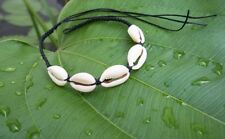 ANKLE ANKLET BRACELET NATURAL COWRIE SEA SHELL BEACH BLACK WAX STRING HANDCRAFT