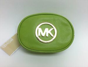 NEW-MICHAEL KORS FULTON LIME GREEN GENUINE LEATHER+GOLD-TONE COSMETIC CLUTCH BAG