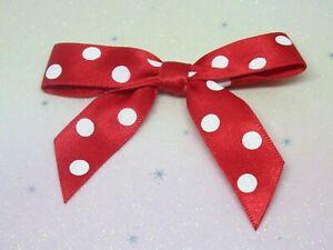 7cm Satin Bows - Red + White Polka Dot Pre Tied 15mm Ribbon 5 Pack