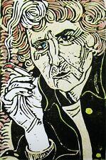 Portrait of artist Maggi Hambling Original Linocut with Coloured Pencil Ltd Ed