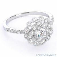 CZ Crystal Pave Right-Hand Flower Fashion Ring in 925 Sterling Silver w/ Rhodium