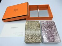 HERMES 2 Deck of Playing Cards Trump Game Authentic OLIVE & BROWN Set with Box