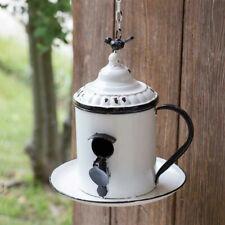 New Primitive Vintage Antique Style White Black Coffee Pot Birdhouse Bird Feeder