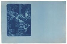 Rppc cyanotype real photo postcard child outdoors to Port Huron, MI.