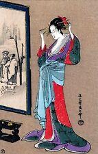 Geisha Fixing Hairdo~counted cross stitch pattern #1159~Oriental Asian Chart