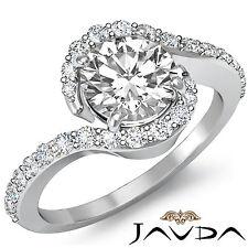 Huge Round Cut Unique Diamond Engagement Ring GIA I VS2 14k White Gold 1.35 ct