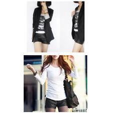 C'mon Women's Black Elastic Waist Shorts Korean Style Faux Leather Shorts^v^