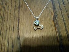 HEART NECKLACE STERLING SILVER Diamond  (Moissanite) .61 ct Blue