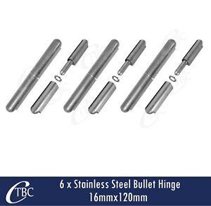 6x Stainless Steel Hinge Bullet Weld 16mmx 120mm Window Trailer Gate Caravan Pin