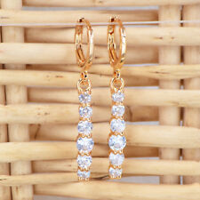 Fashion Women Gold Plated Sparkly Clear CZ Cubic Zirconia Wand Earrings Jewelry