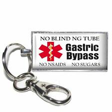 "Medical Alert Gastric Bypass Glass Top 1x2"" Key Chain Custom Handcrafted"