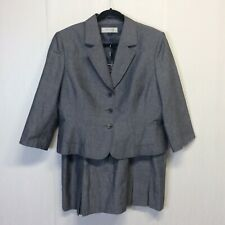 Tahari ASL Plus Size Belted Gray Skirt Suit Size 18 Wool Blend