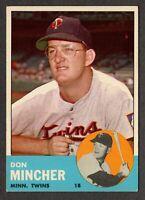 1963 Topps Baseball #269 Don Mincher Minnesota Twins - 3rd Series
