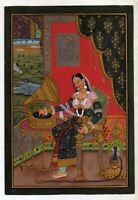 Miniature Portrait Of Mughal Empress Mumtaz Painting Persian Style On Paper