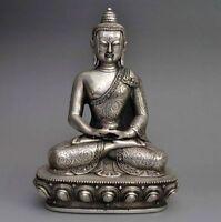 Collectible Buddhism Temple Tibet Silver Big Sakyamuni Amitabha Buddha Statue