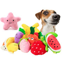 Pet Dog Cat Fruit Shape Funny Plush Toy Chew Squeaker Squeaky Puppy Sound Toys