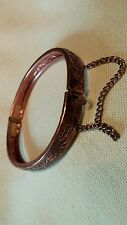 Etched Copper Bangle with Latch and Safety Chain