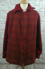 Vintage Welsh wool tapestry womens coat jacket knitted sleeves red size 14 - 16