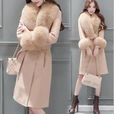 New Autumn And Winter Women's Slim Lace Long Coat Large Fur Collar Wool Coat