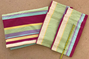 Bright Striped Hot Pink Cotton Tablecloth 76x59 + 6 Placemats Tag Ltd India