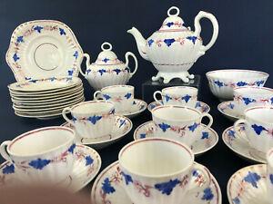 Victorian porcelain / pottery Chelsea Grape copper luster tea set England 1800s
