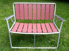 New listing Wood Slats Aluminum Folding Loveseat Bench Large Lawn Chair Metal Arms Portable