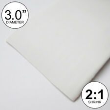 """3"""" ID White Heat Shrink Tube 2:1 ratio 3.0 polyolefin (8 inches) foot/ft/to 80mm"""