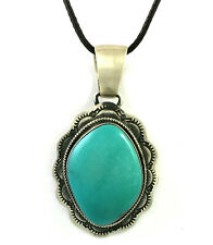 Silver Turquoise Pendant. B. Johnson Beautiful Hand Made Navajo Sterling