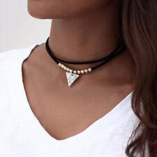 Multi Layers Velvet Choker Triangle Turquoise Pendant Necklace Women Jewelry