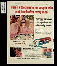 1955 Gleem Toothpaste One Brush Vintage Print AD 8191