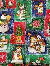 "Christmas Snowman Cute Country 1 1/4 Yard x 44"" Blue Red Green Fabric F64"