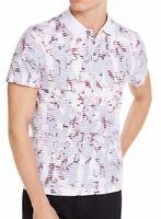 Alfani Mens Shirt Classic Purple Size Medium M Floral Print Polo Rugby $55 197