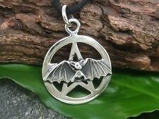 Pentagramme avec chauve-souris argent 925 pendentif collier pentacle