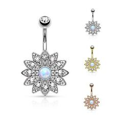 Paved Crystal Flower Belly Bar / Navel Ring With Synthetic Opal Centre