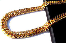 128G Heavy MENS 24K SOLID GOLD GF FINISH THICK MIAMI CUBAN LINK NECKLACE CHAIN