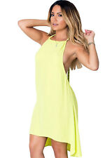 Abito camicia maglia Scollo Nudo aperto gonna string Chiffon Open Back Dress