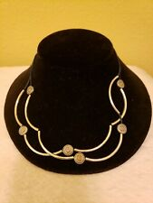 LIZZY JAMES NECKLACE/BRACELET DOUBLE STRAND BLUE LEATHER WITH CHARMS NWOT