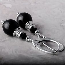 Sterling Silver Leverback Earrings Mystic Black Pearl Crystals from Swarovski®