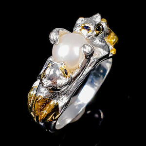 Jewelry Fine Art Pearl Ring Silver 925 Sterling  Size 6 /R177201