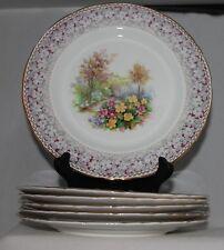 6 floral Salad PLATES  H & M Sutherland WOODLAND DELL China Hudson Middleton
