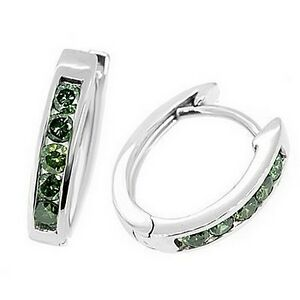 0.45ct FANCY-GREEN DIAMOND HOOP EARRINGS 14K WHITE GOLD CHANNEL-SET