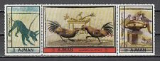 Ajman, Mi. cat. 2481-2483 A. Mosaics issue. Dog, Roosters and Birds shown.