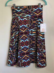 1030 NWT LuLaRoe AZURE Swing Skirt XS EXTRA SMALL Teal Red Black Tribal Aztec