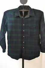 Pendleton Wool Plaid Shirt Blue/Green Blackwatch Tartan 100% Wool L LS Dry Clean