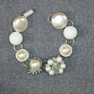 White Pearl and Crystal Bracelet Handmade UpCycled from Earrings One of A Kind