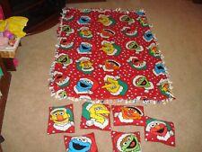 Rare Hand Made Sesame Street Fleece Pillows Set and Blanket Ernie Bert Oscar WOW
