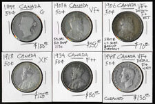 (1899-1948) SIX CANADA 50¢ with CATALOG VALUE ~$750 USD > MUST SEE > NO RESERVE
