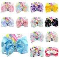 "8""JOJO SIWA Rainbow Unicorn Wide Print Hair Bow Clip Grosgrain Ribbon Coral Knot"