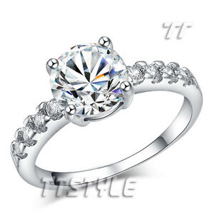TT 18K White Gold GP 2 Carat CZ Engagement Wedding Ring Size 5-8 (RF64)
